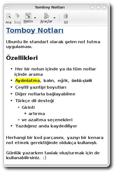 Linux ubuntu gnome tomboy not tutucu