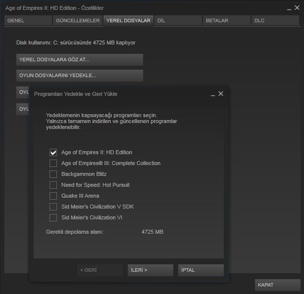 Steam - Oyun Yedekleme