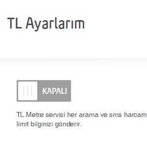 Turkcell bakiye bildirimi (TL metre) kapatma
