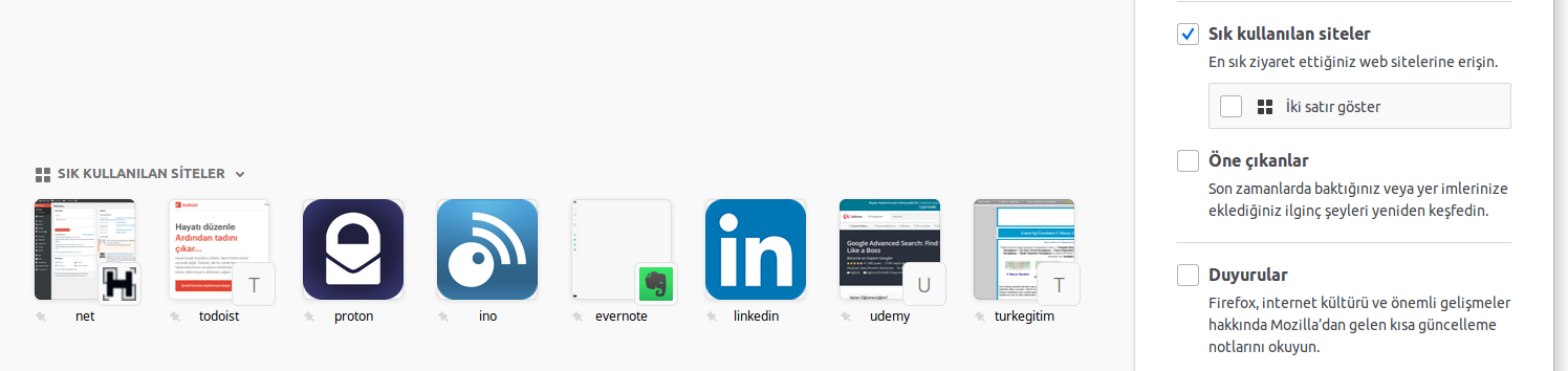 Firefox sık kullanılan siteler